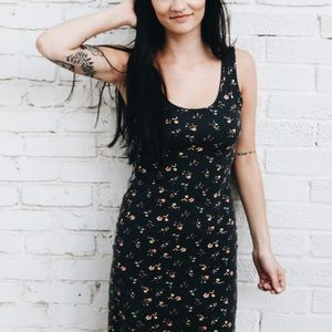 fitted floral midi dress
